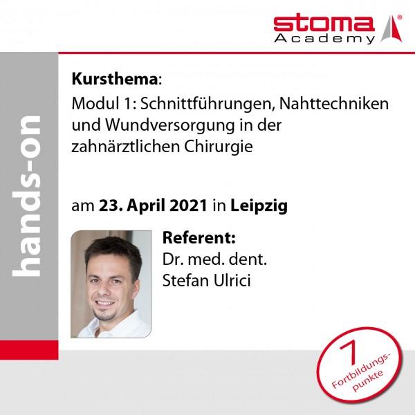 Dr. Ulrici | 23.04.2021 in Leipzig | Schnittführungen, Nahttechniken und Wundversorgung ...